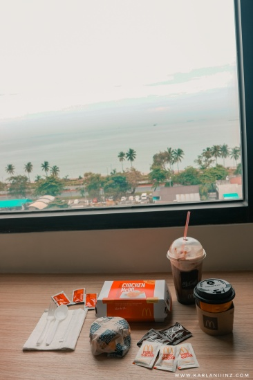 Mcdo for breakfast!!! Look at the view. :)